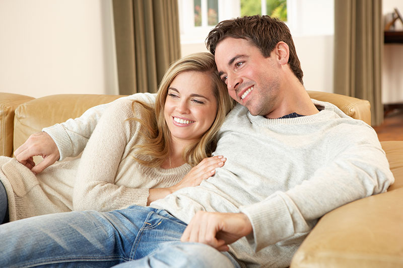 Young couple sitting and relaxing on sofa