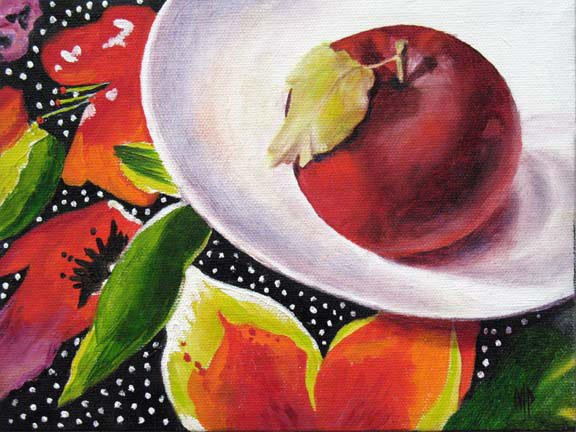 """Apple On A White Plate - 6""""x8"""" Oil on Stretched Canvas - SOLD"""