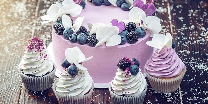 Purple Beautiful Cake Decorated with Berries