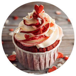 Cupcake with Heart Wooden Background