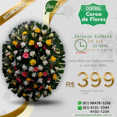 Coroa de Flores Mistas Rosas e Gérberas