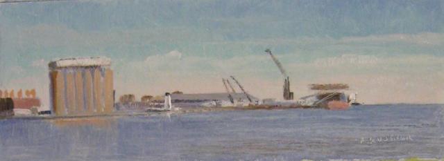 27. Lighthouse, Baltimore Harbor, 3x8  oil on panel