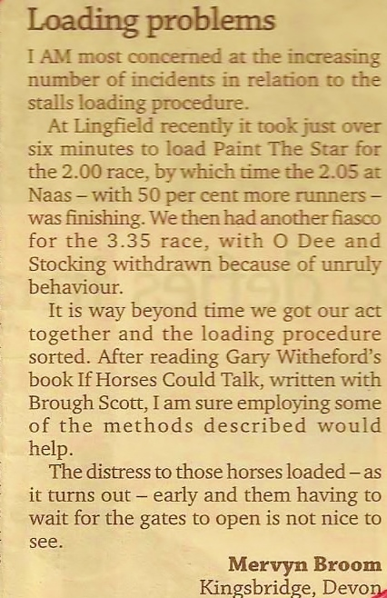 July 2015 - Letter to The Racing Post