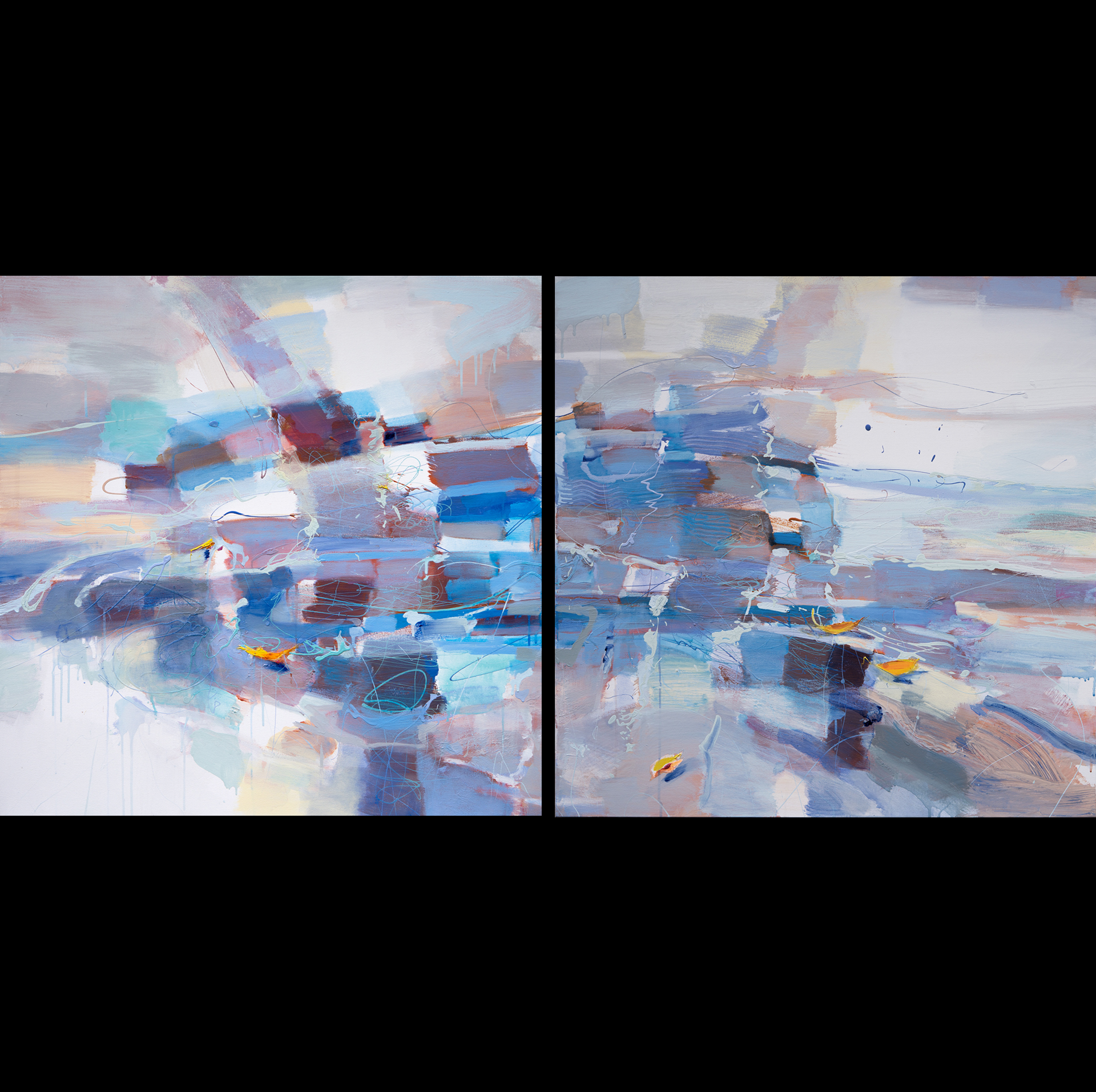 EBB & FLOW acrylic on canvas diptych 36x72 $2400