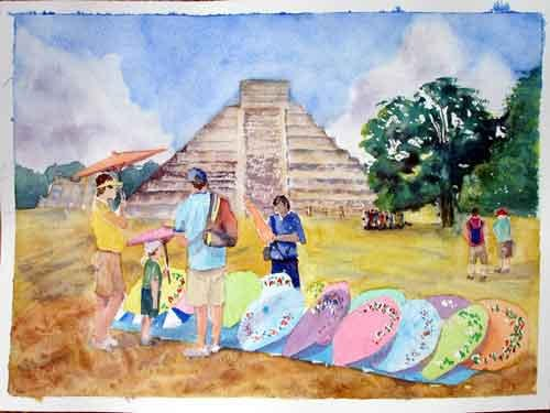 Parasols at Chichen Itza .. Watercolour