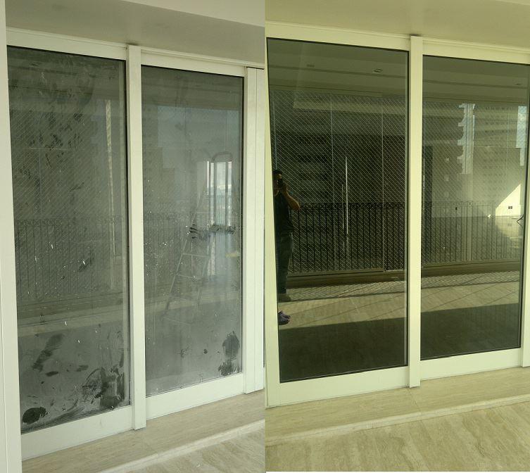 Limpeza de vidros - Antes e Depois
