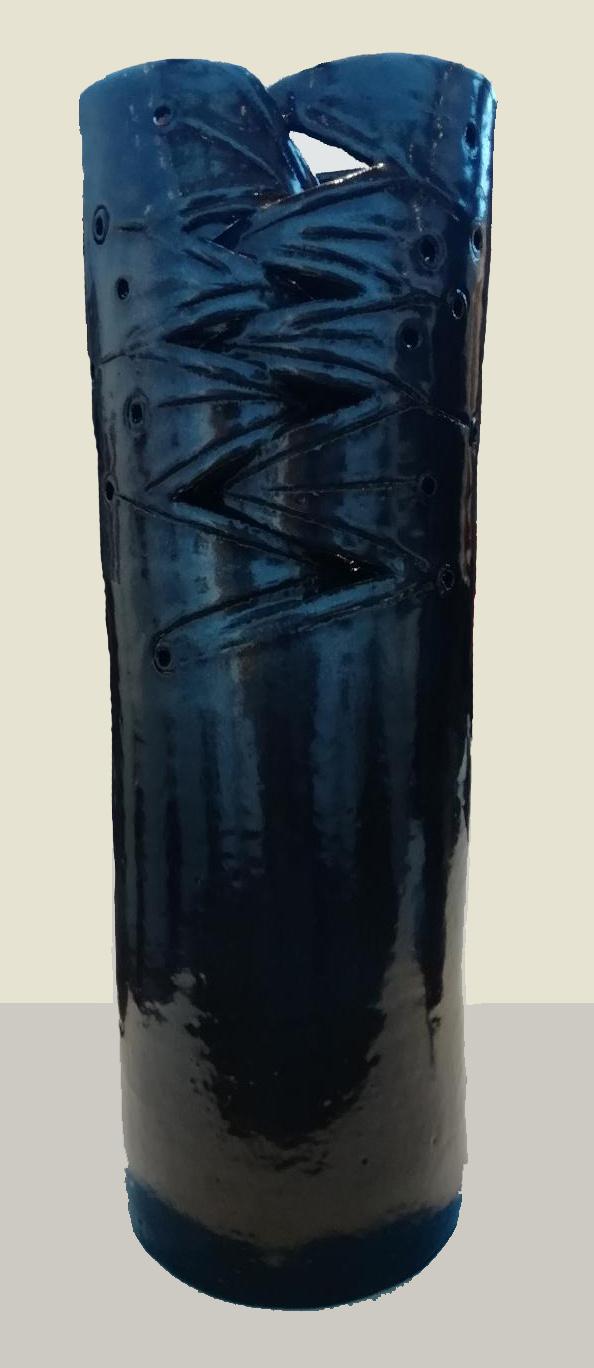 "Azul ""1"" Cerámica de alta temperatura 51 x 18 cms."
