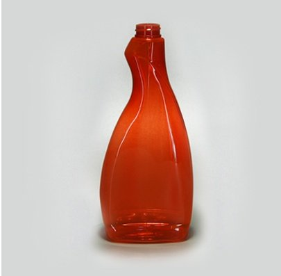 Botella oval atomizadora 600ml. color naranja PET