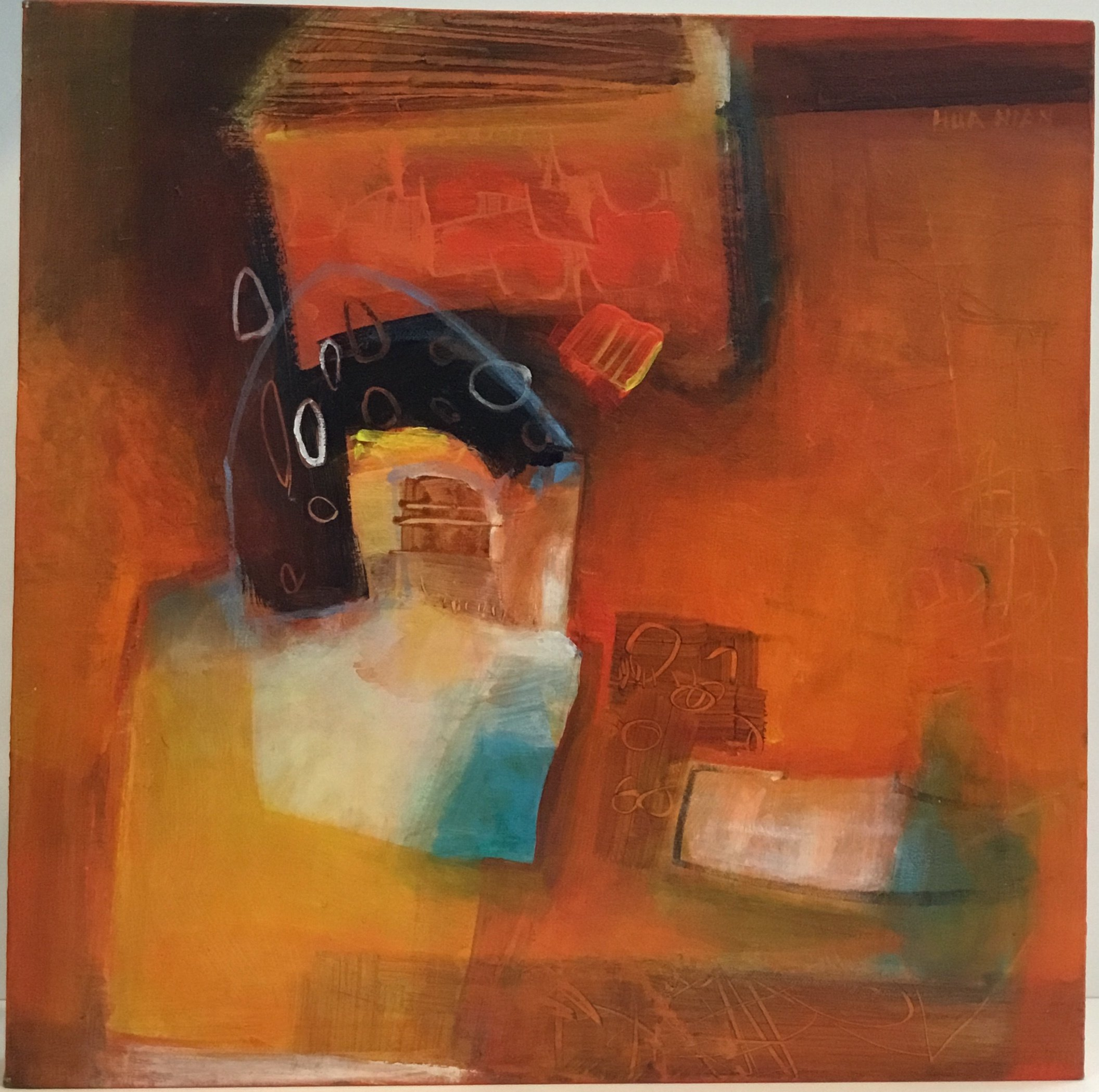 "Orange Night acrylic on canvas 15"" X 15"" $350."