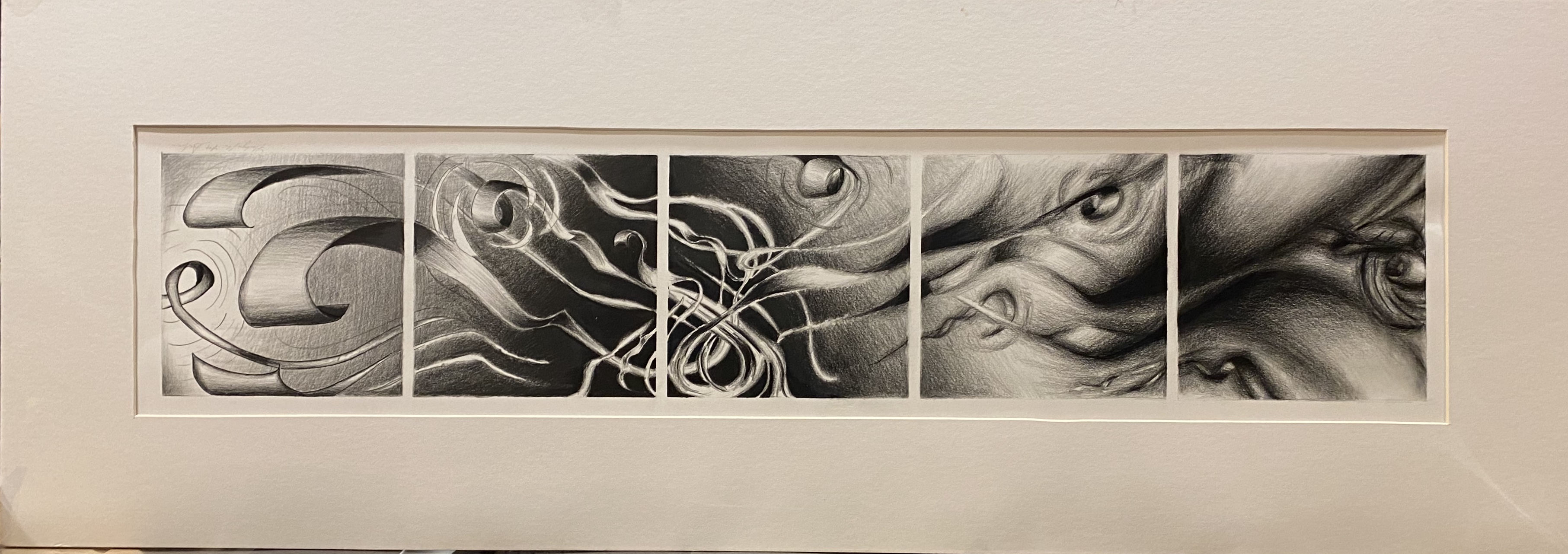 "Ribbon Flow pencil, ink 6"" X 29"" $150."