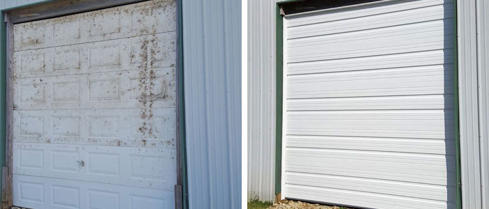 Old Garage Door And New Garage Door