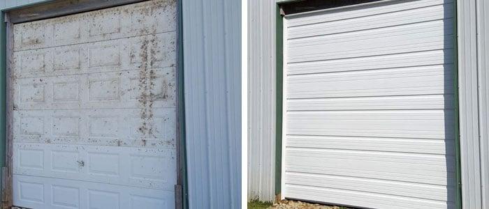 Old Garage Door And New Garage Door
