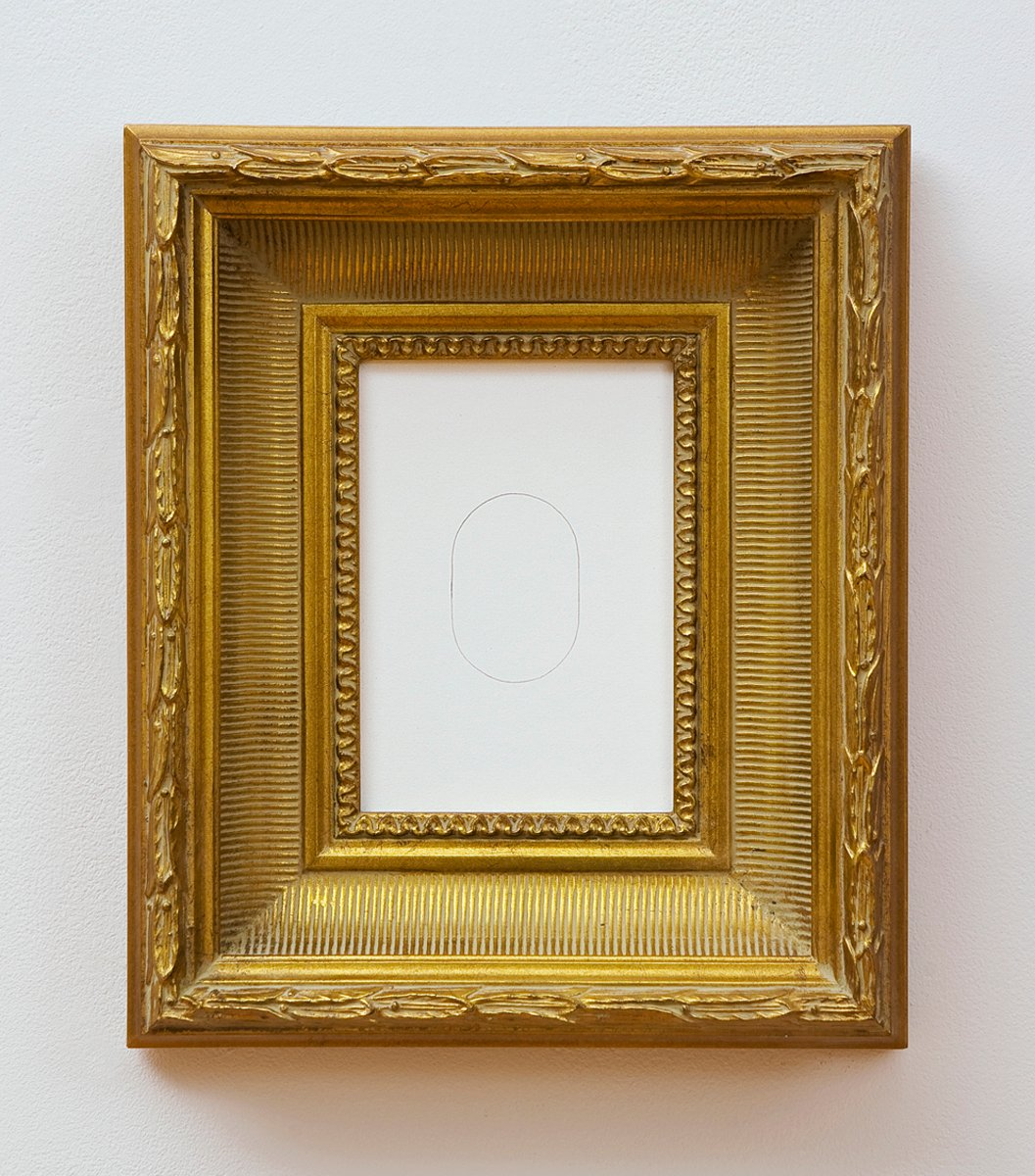 A minimalist pencil line oval on a white background in an ornate gold frame.