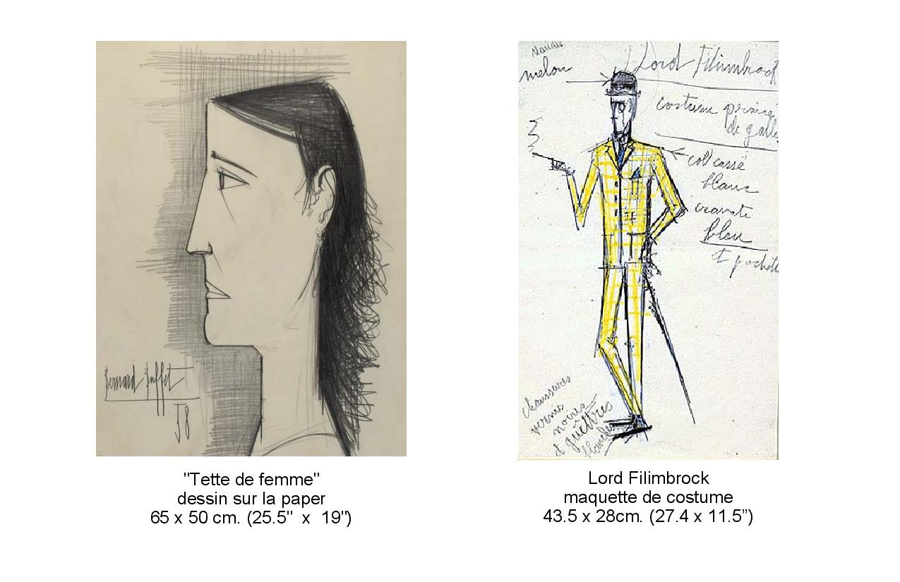 Drawings of Tette de femme and Lord Filmbrock maguette de costume