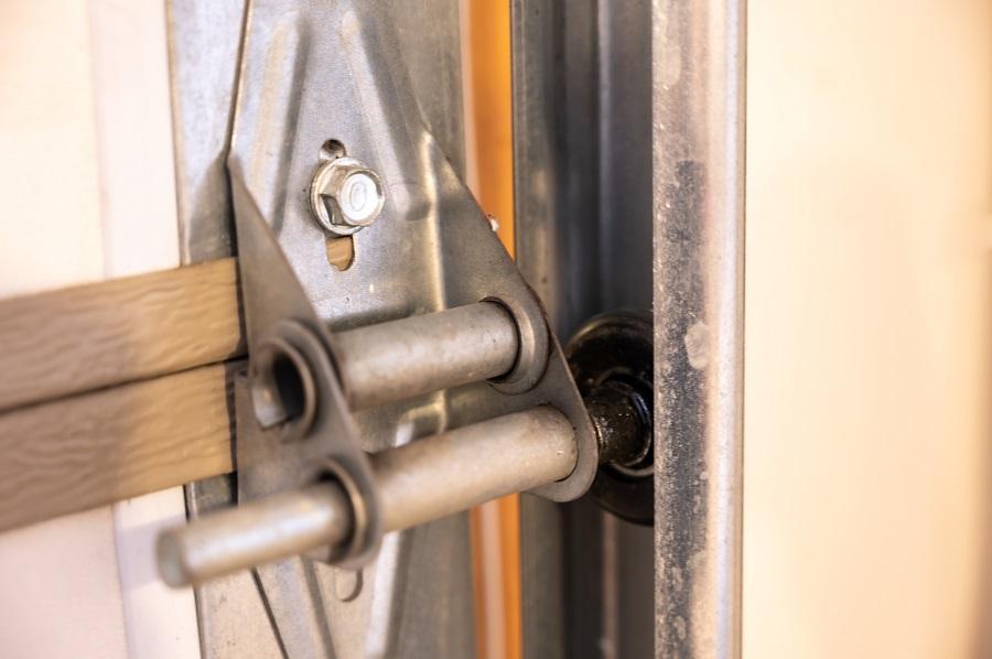 Close Up of Metal Garage Door Hinge
