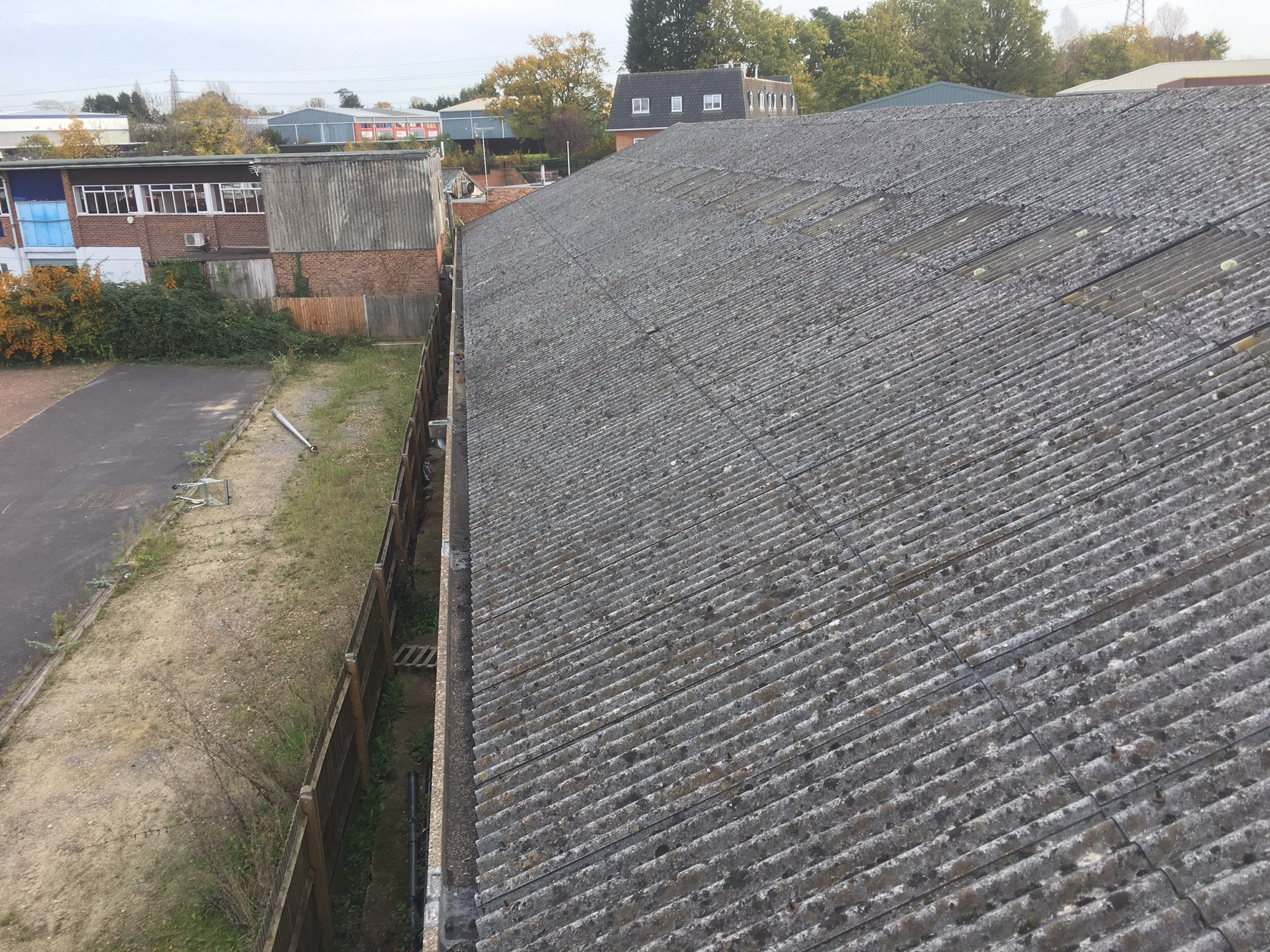 Asbestos roof before conversion