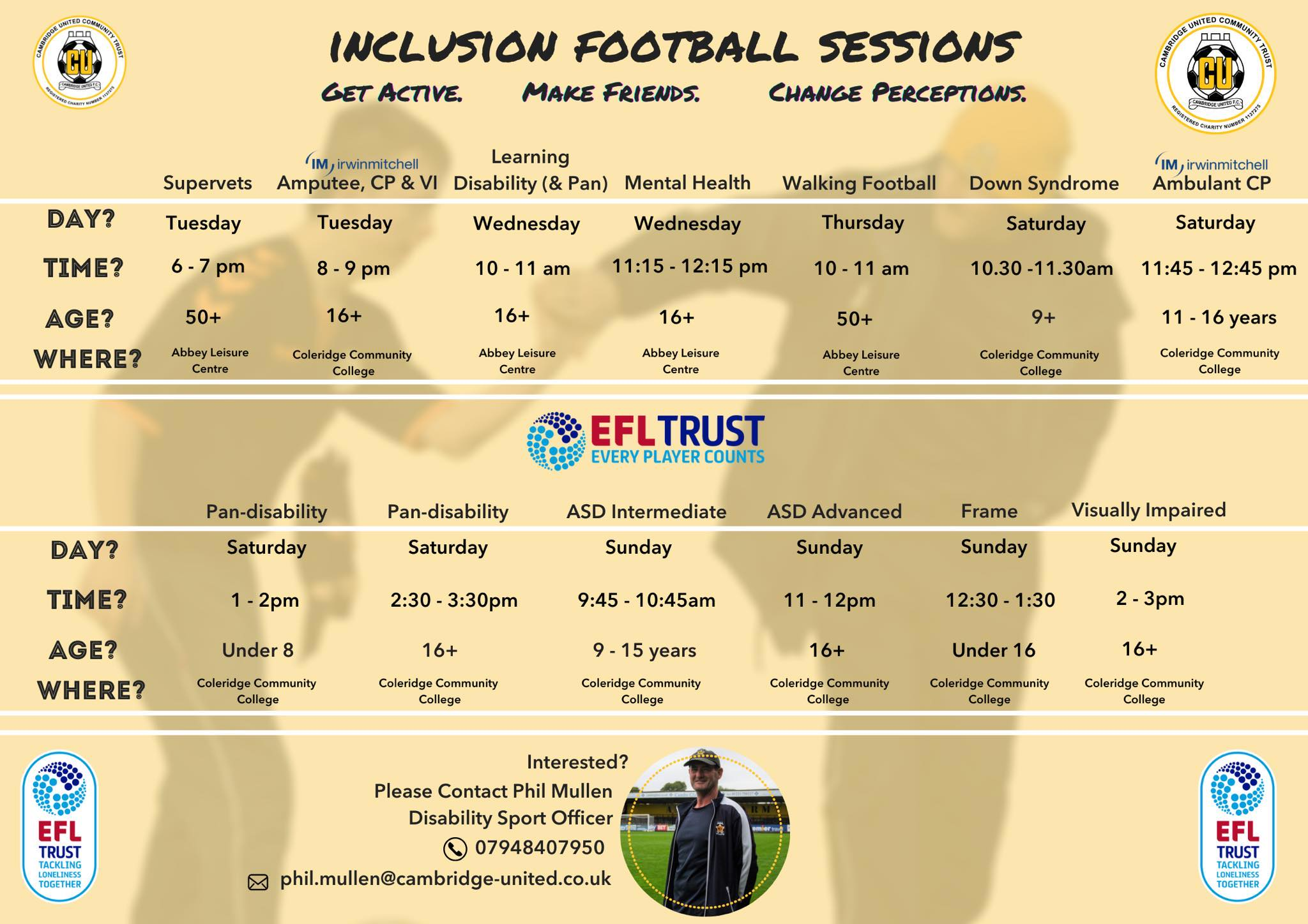 Details of CUCT Disability Football Sessions