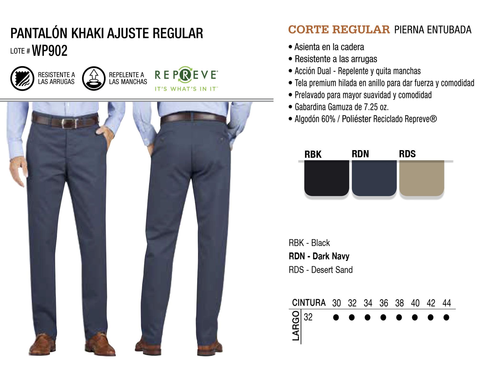 Pantalón Khaki Ajuste Regular. Corte Regular. WP902.