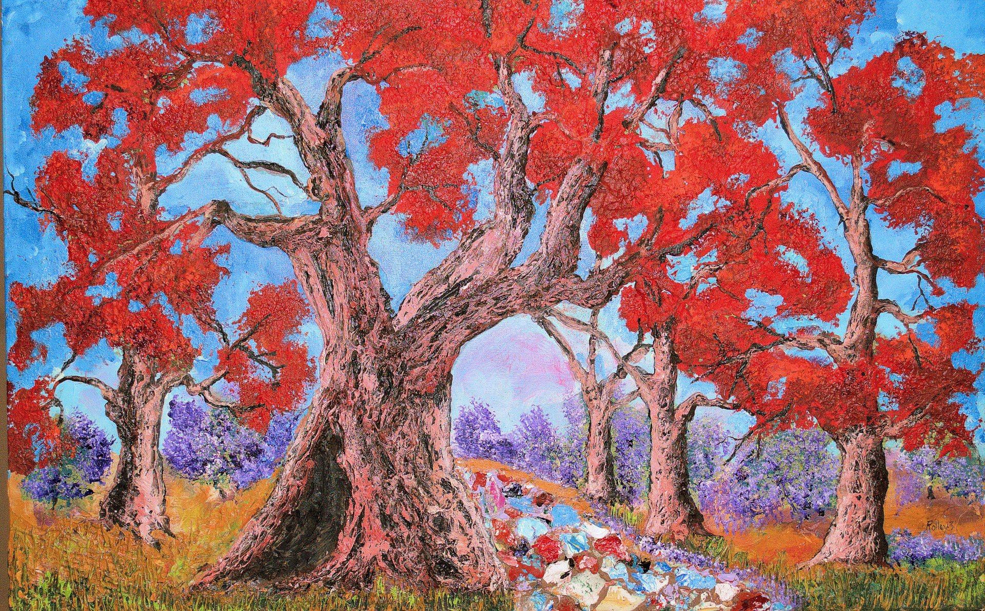 "OLD-OAKS   24x48""   $1000     HIGHLIGHTED-WITH-GLOW-IN-DARK-LUMINESCENT-PAINT"