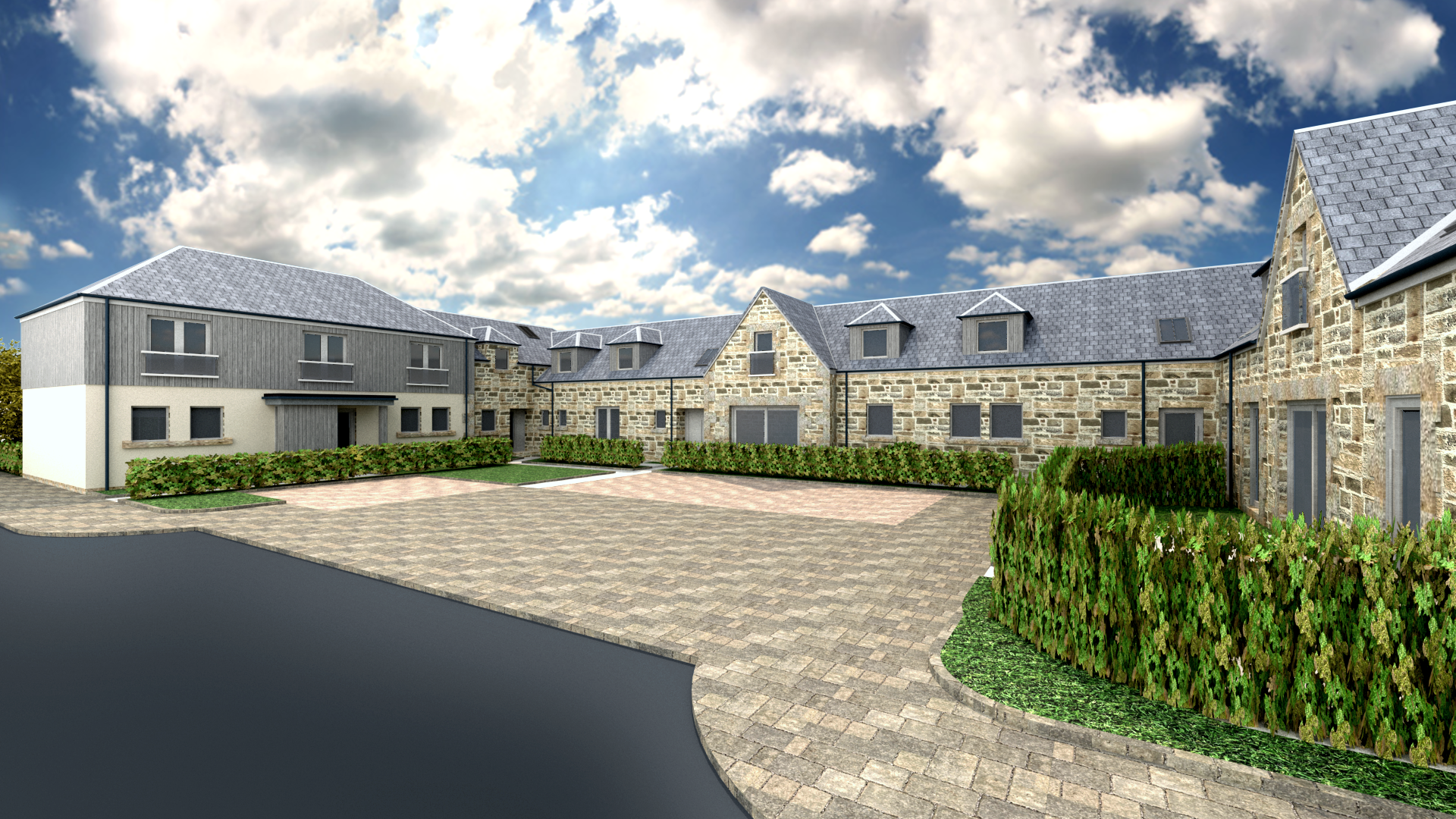 View of Phase 3 Courtyard. New build houses.