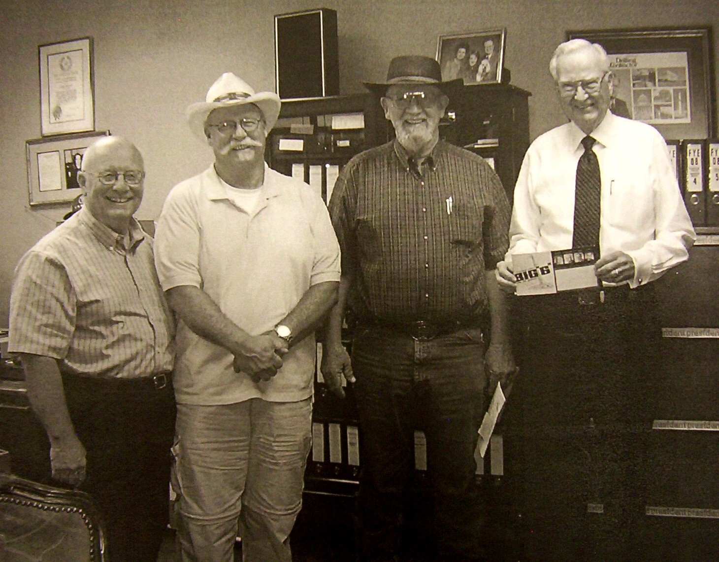 "(From Left to Right) Founder Buddy Andres sons: Don Andres; George Andres; Jim Andres; and Chester B. Benge, Jr. Big ""6"" President."