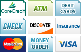 We accept Care Credit, ATM, Debit Cards, Checks, Discover, Insurance, MasterCard, Money Orders and Visa.||||