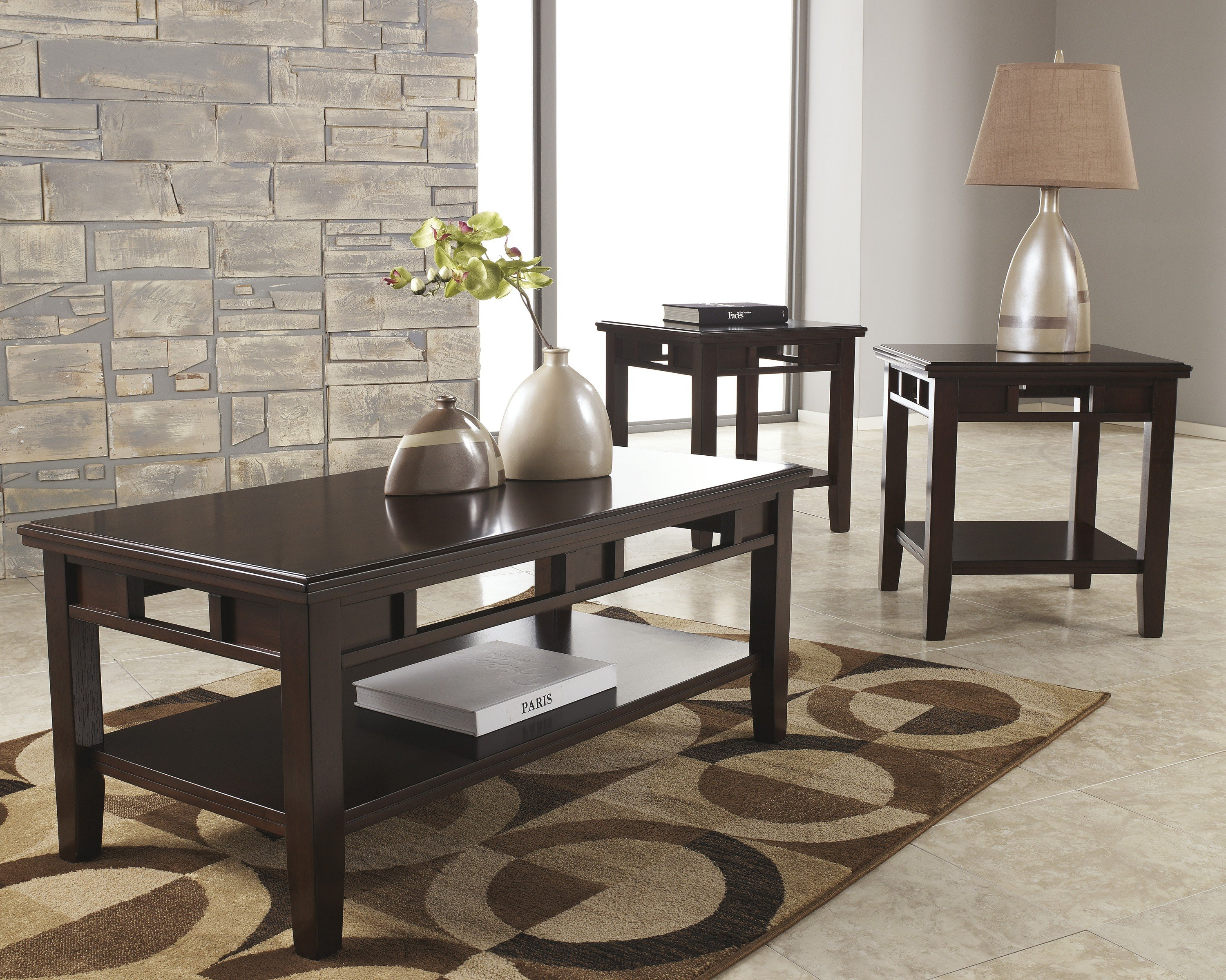 Furniture clearance center tables logan by ashley oak t160 13 cocktail table and two end tables geotapseo Choice Image