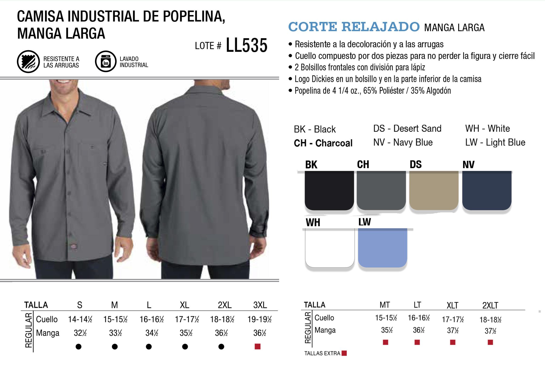 Camisa industrial de popelina. Manga Corta. LL535