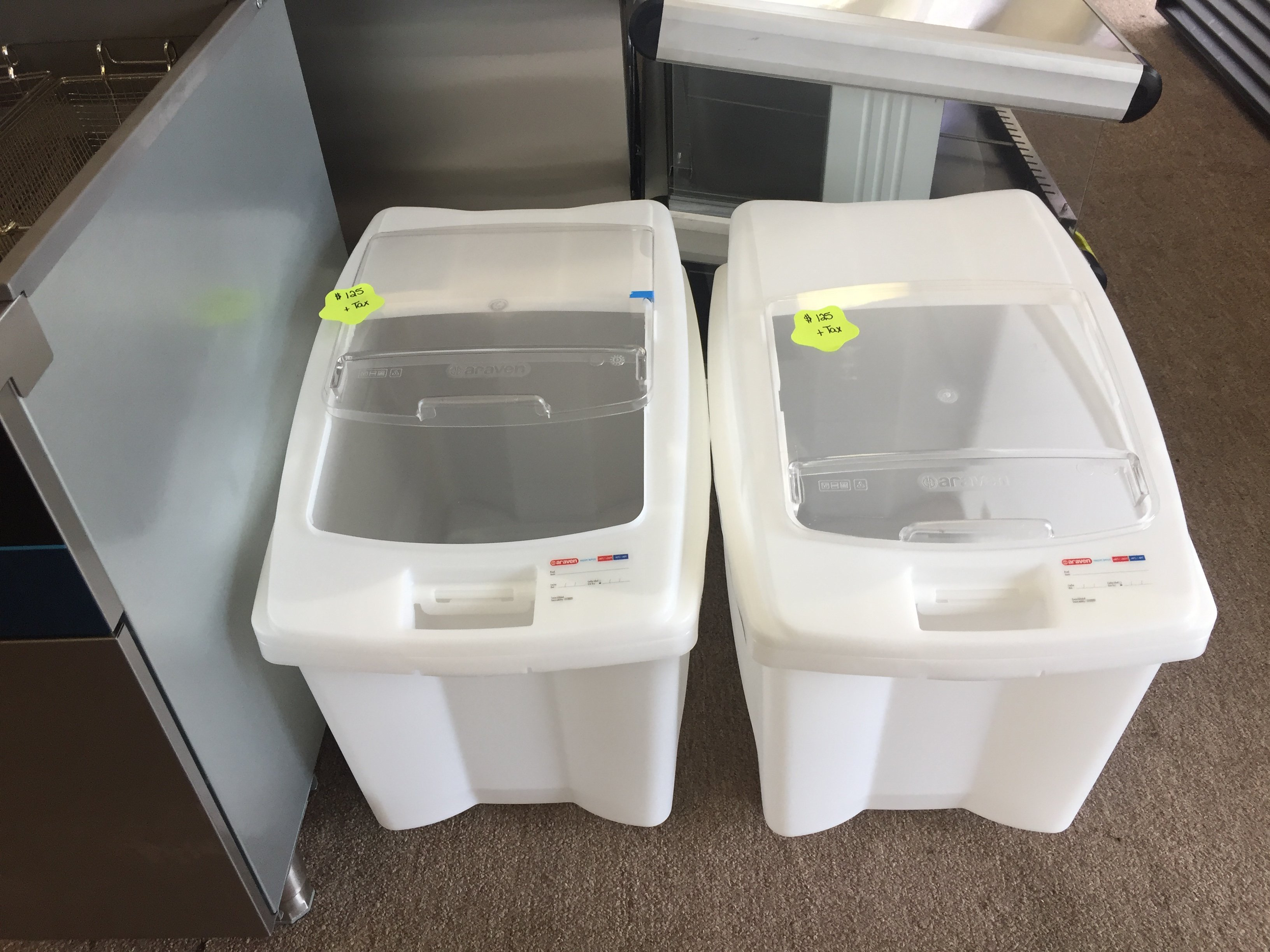 New Araven 26 Gallon Ingredient Bin $ 100.00 each