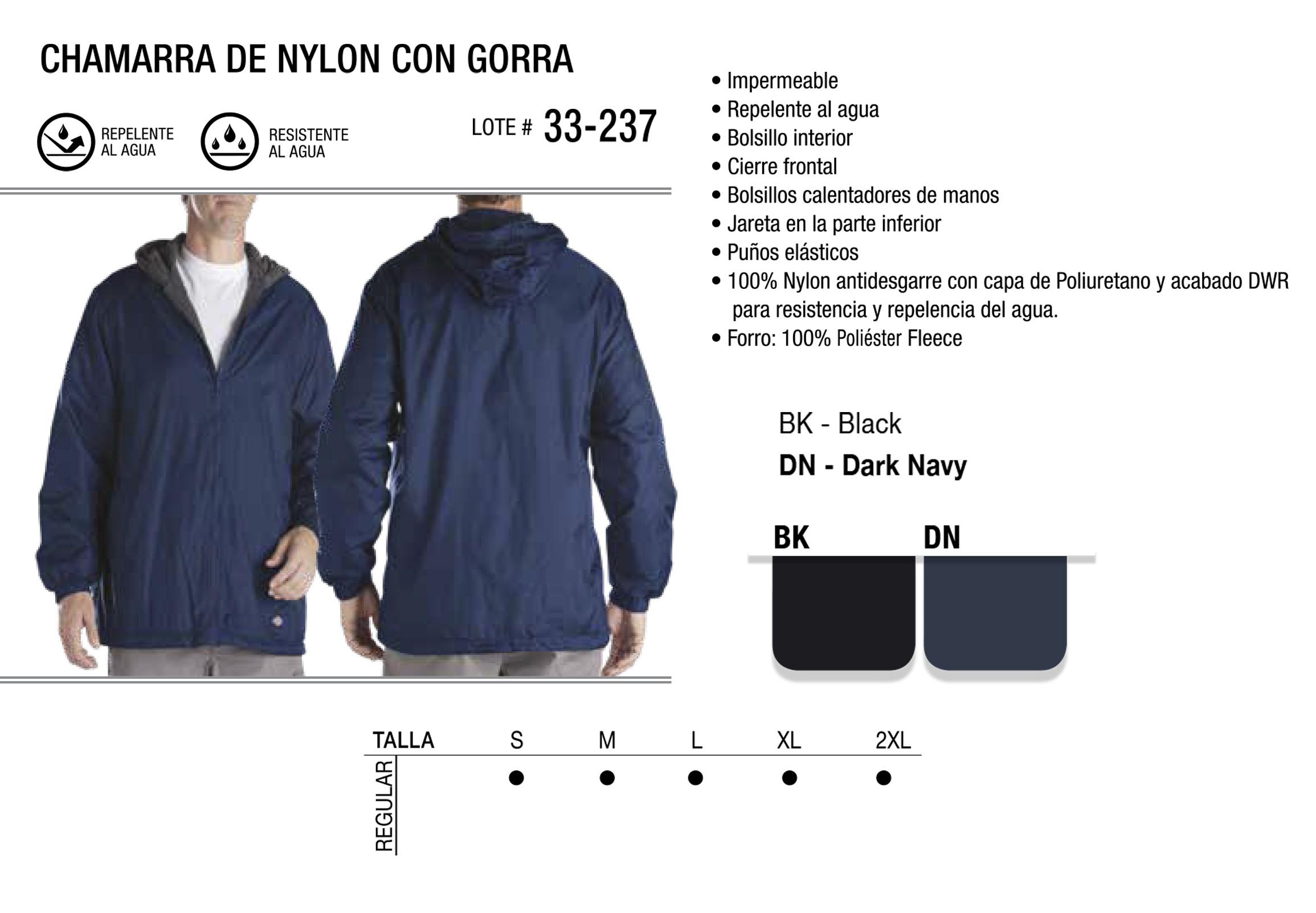 Chamarra de Nylon con Gorra. 33-237.