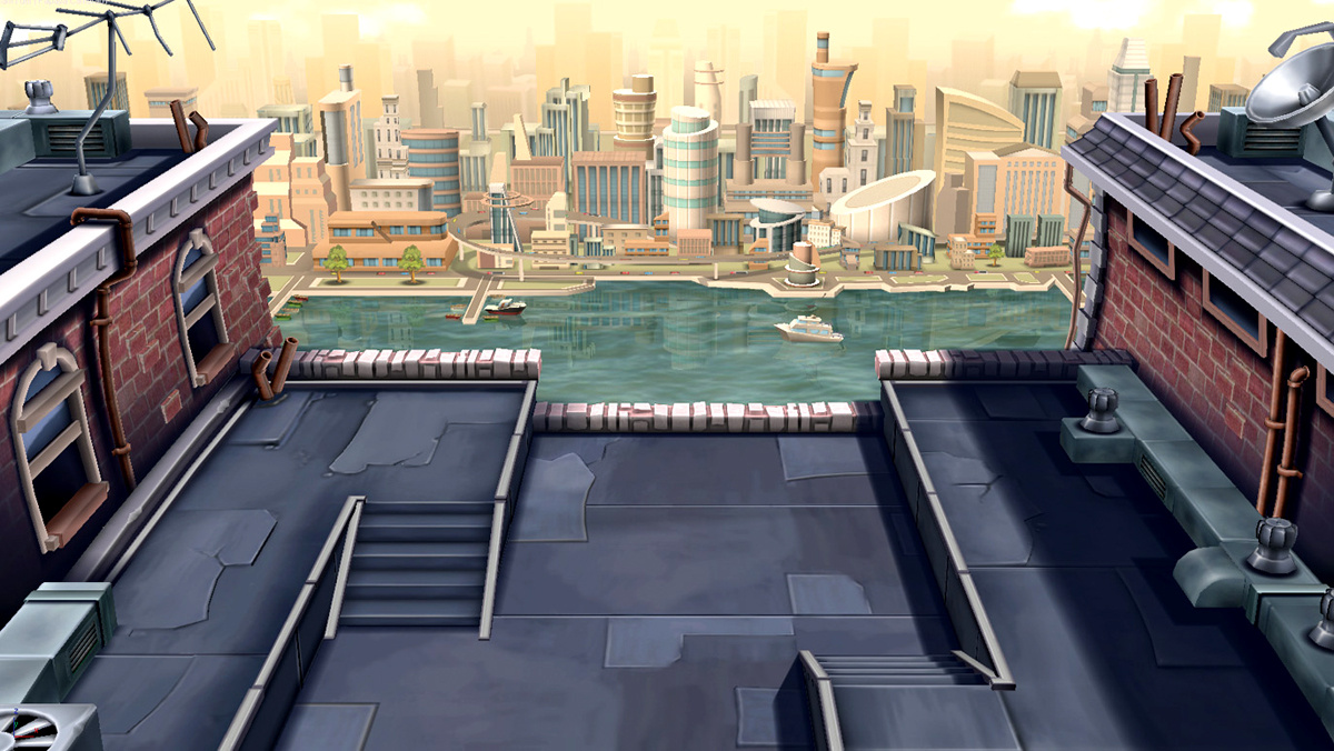 Rooftop Scene. Software used 3ds Max, PhotoShop, and Unity Engine.