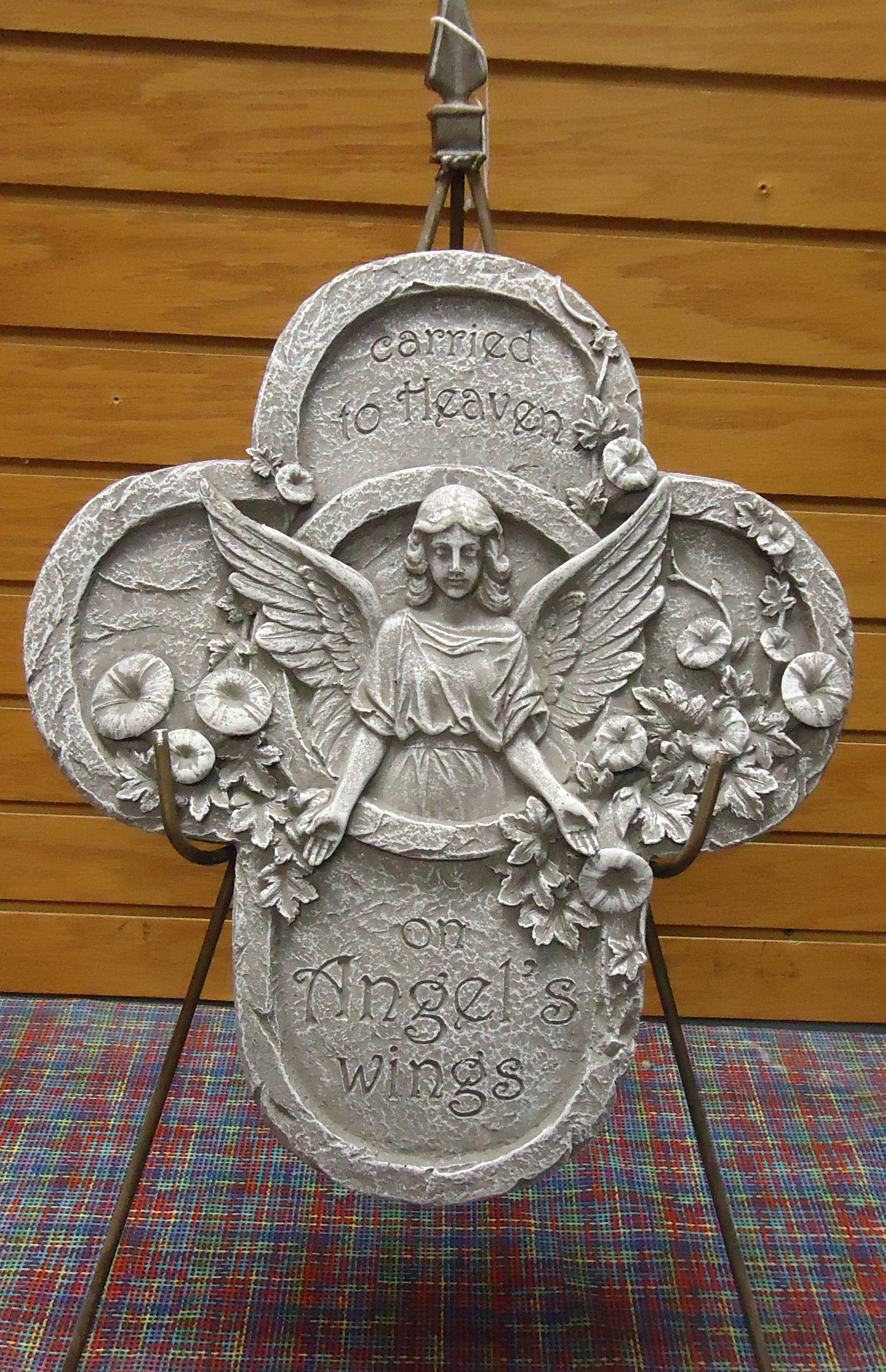 "(39)  ""Concrete"" Memorial Stone On Easel  (Carried To Heaven On Angels Wings) $55.00 (One Gray & One Mauve Left)"