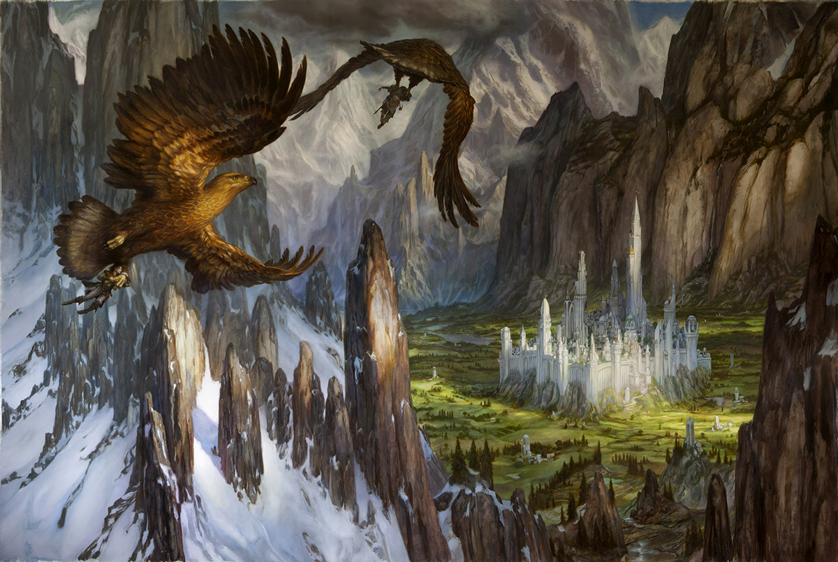 "Huor and Hurin Approaching Gondolin  112"" x 73"" oil on linen 2013 image from The Silmarillion by J.R.R. Tolkien private collection"