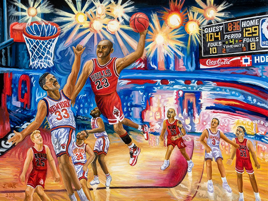 Michael Jordan Scores Again! 30 X 40 Original Oil $2500 2019