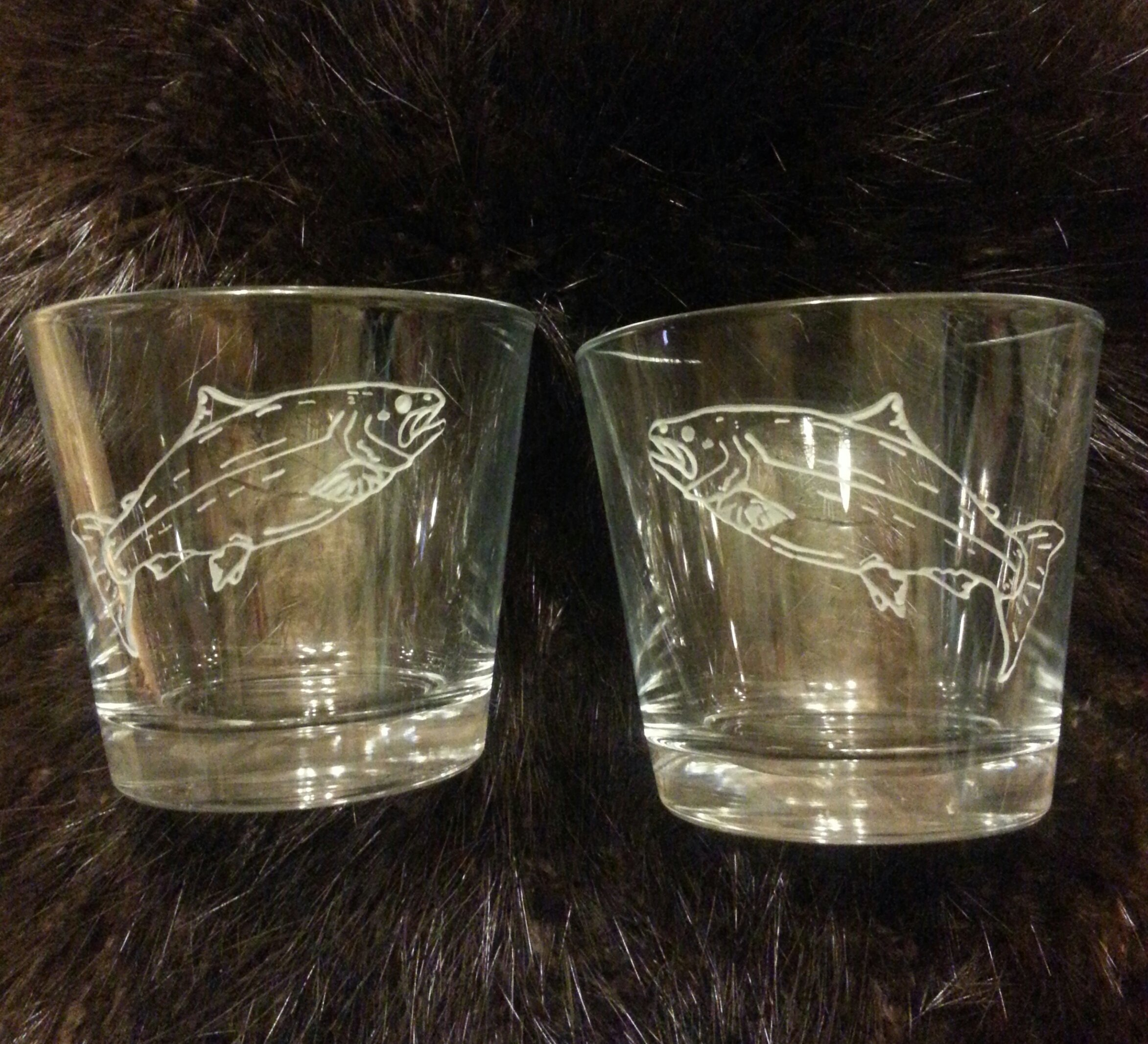 Salmon engraved old fashion glasses... $25.00 ea,  or $45 for 2...