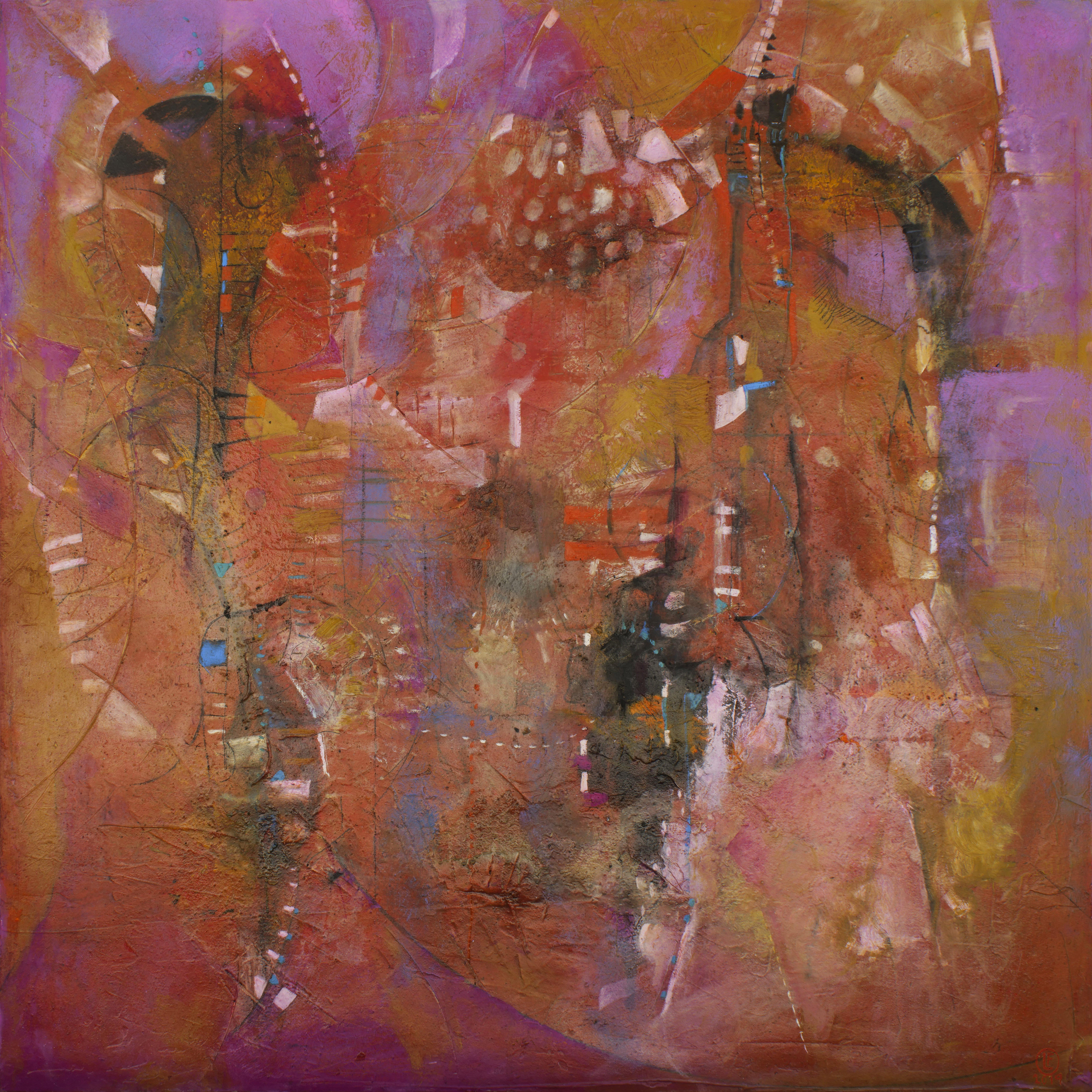 Danzantes de Fuego óleo s/tela 180 x  180 cms. / 71 x 71 inches