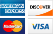We accept American Express, Discover, MasterCard and Visa.||||