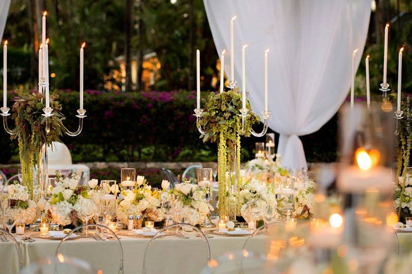 Flower and Candlelabra Centerpieces