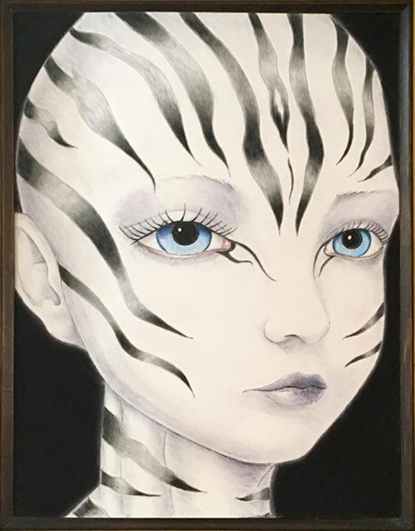 Zebra Girl, 2018 Pastel on Paper 12 in × 16 in