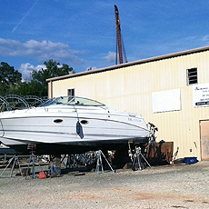 Powerboat in Boatyard