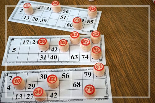 Tabletop Lotto Game with Wooden Elements