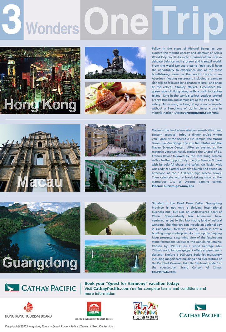 Landing page promoting a multiple destination trip for Hong Kong Tourism Board