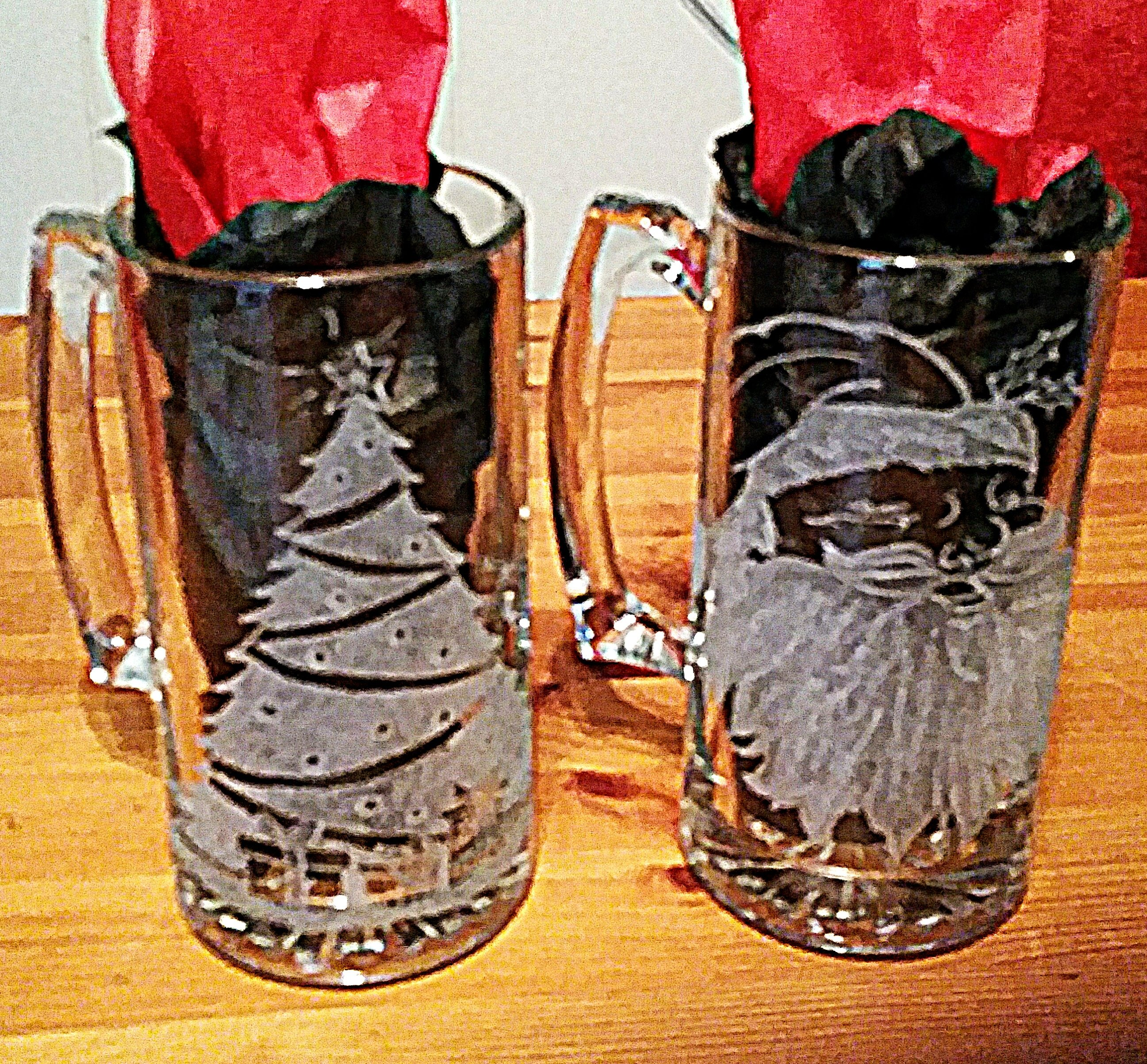 Christmas Etched Glass Mugs