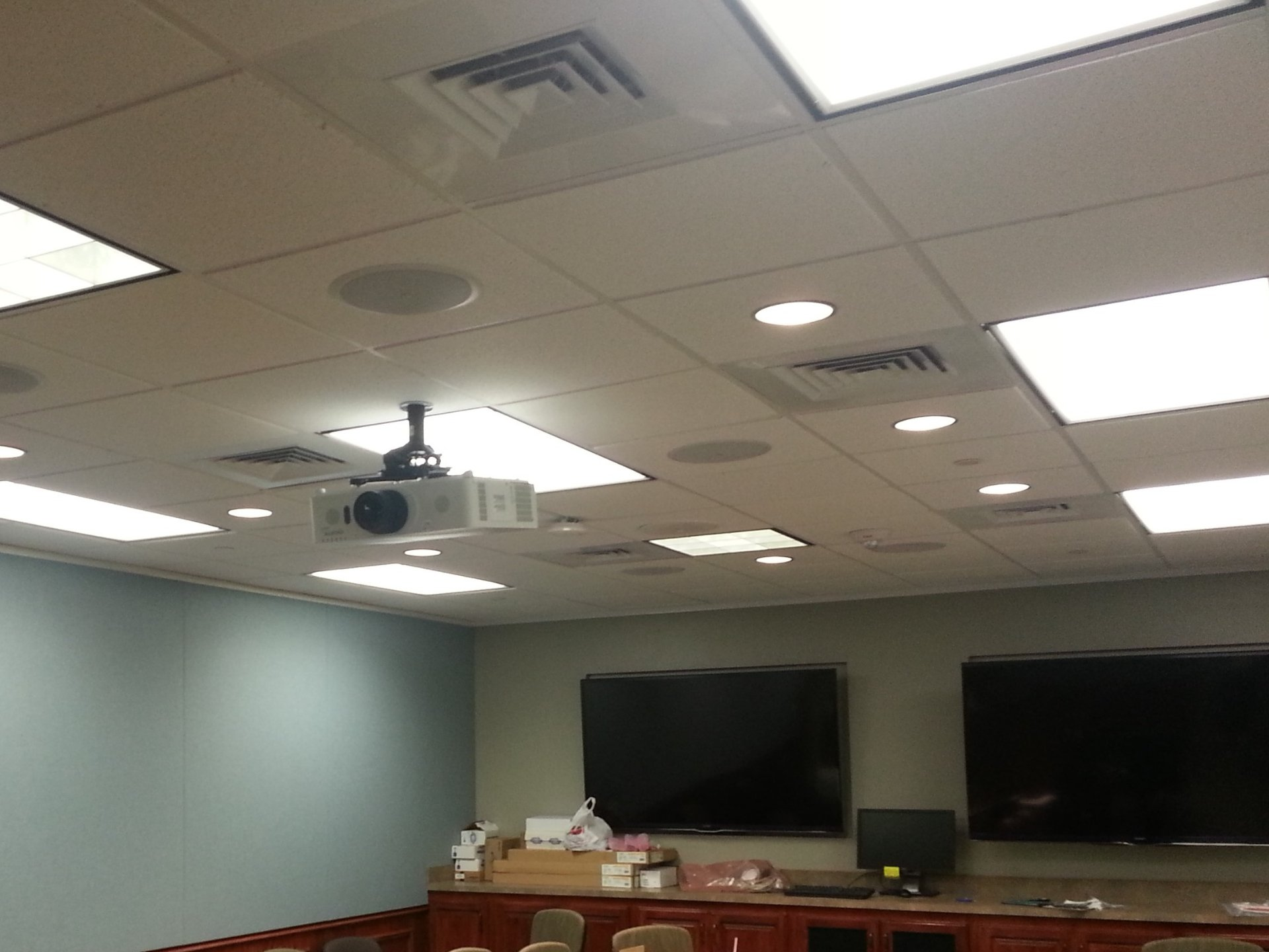 Installation of Christie projectors, muiltiple displays, and Atlas ceiling speakers at BSEE Conference room