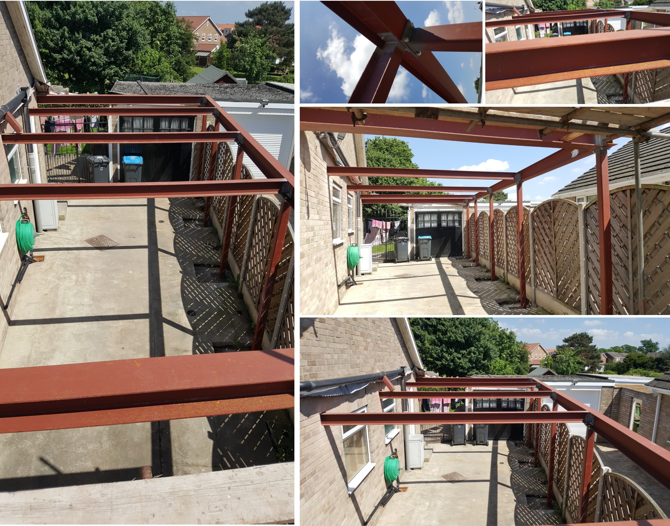 Supply & fit steelwork for car port to support 2nd storey extension.