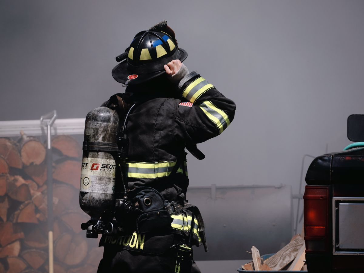 Firefighter responding to a home fire