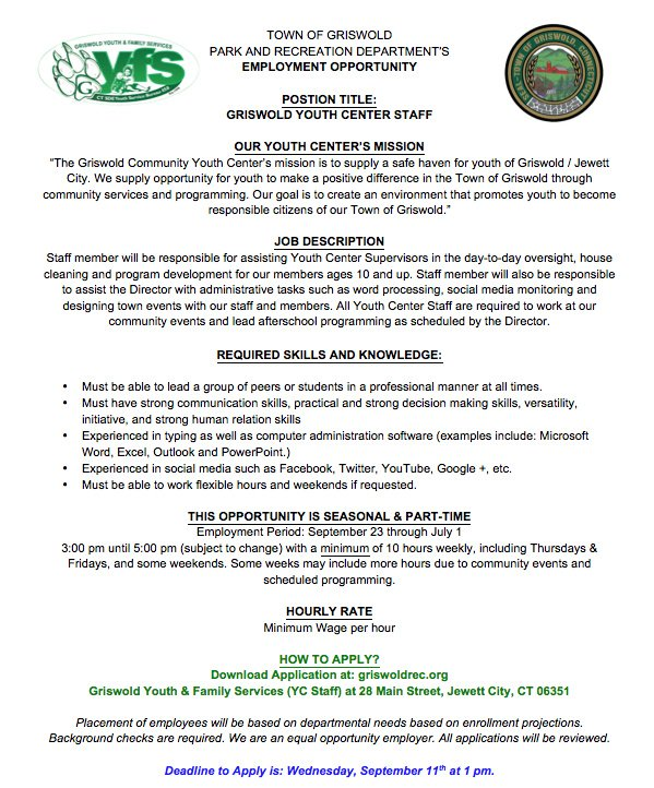 Griswold, CT Park & Rec / Youth & Family Programming