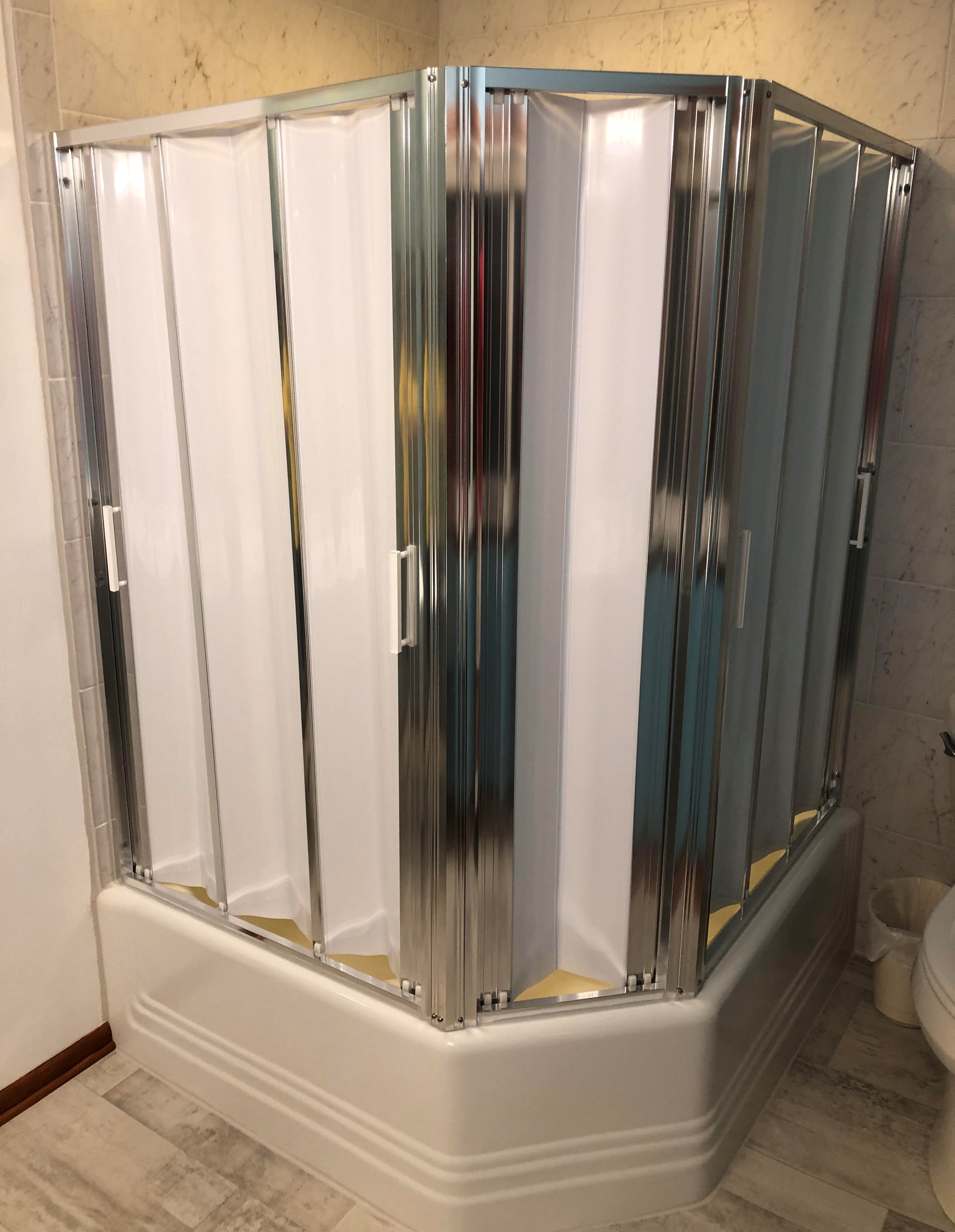 3 doors used to make a corner shower