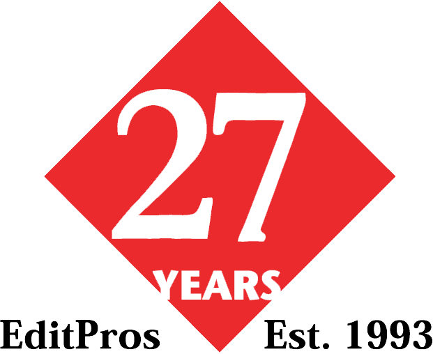 EditPros 27-year diamond-shaped emblem