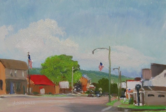 80. SOLD Evening in Grantsville, 6x9 oil on panel
